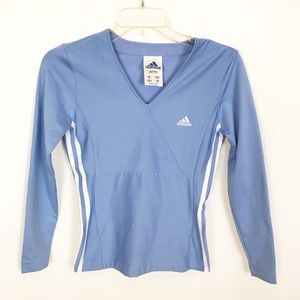 ADIDAS Blue Advantage V Neck Long Sleeve Shirt-S